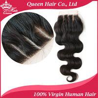 Queen Hair Products Brazilian Virgin Hair 3 Part Lace Closure Swiss Lace Hair Closure 3.5x4,Virgin Human Hair Body Wave Free DHL