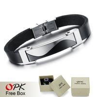 OPK JEWELRY Free Box! Cool Black Genuine Leather Handmade Bracelet & Bangle Men Attractive Accessory Length Adjustable, 834