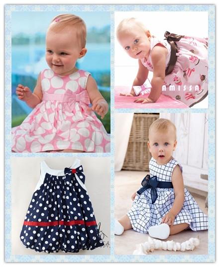 Retail wholesale baby dress/soft and cute bowknot princess dress baby girl/sleeveless cool summer/Free shipping Honey Baby(China (Mainland))