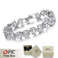 OPK Jewelry Platinum Plated Austria Big White Crystal Bracelets  Brand Design Strand Bracelet Elegant Women Jewelry DS931B