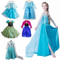 5Pcs/lot 2014 Children Frozen Queen clothing baby girls frozen elsa anna dress kids girls party dress child girl clothes D0625#