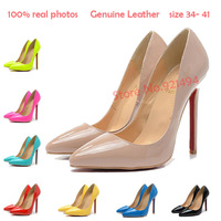 New 2014 Plus Size 34-4110 Neon Yellow Color Nude Genuine leather Pointed Toe Red Bottom Pumps Women's High Heels Wholesale