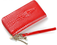 Promotion women wallets high quality genuine leather bag with strap designer crocodile printed ladies purse zip bags 7 colors