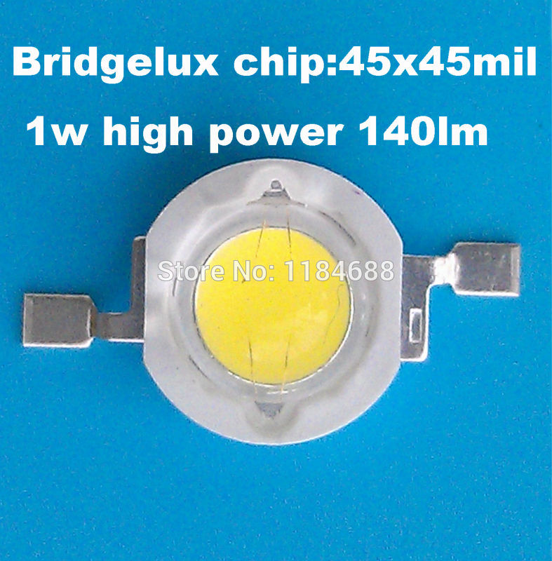 50PCS High quality 1W high power white LED, super flux 140LM, low light attenuation by USA Bridgelux 45*45MIL chip production(China (Mainland))