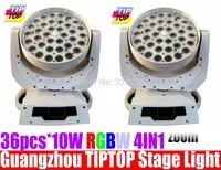 2pcs/lot 36pcs*10W RGBW 4IN1 LED Moving Head Light DMX 16 CHs Zoom Function Big LCD Display Led Stage Light Led Wash Light