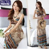 Fashion Elegant New 2014 Summer Spring Bohemia Chiffon Beach Print Plus Size Tops Lace V-Neck Dress Women's Casual Long Dress