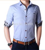 Dropshipping Y&G Slim fit 100% Cotton Unique Printing stylish shirts long Sleeve Shirts Men's dress shirts 8 colors ,size: M-3XL