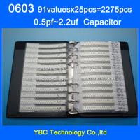 Free Shipping 0603 SMD Capacitor Sample Book 91valuesX25pcs=2275pcs 0.5PF~2.2UF Capacitor Assortment Kit Pack