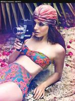 2015 High Waist Swimsuit Women Floral Print Bikinis Set Vintage Bathing Suit Retro Girl's Swimwear 1438