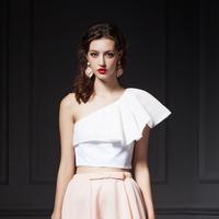 YIGELILA 7209 One Shoulder Sexy Ruffles Hem Elegant Women Chiffon Shirt Tops Free Shipping