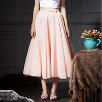 YIGELILA 5180 Custom Elegant Big Hem Fairy Long Pink Bow Chiffon Midi Skirt 2014 Free Shipping