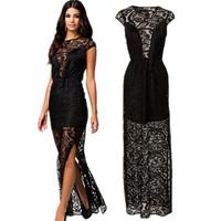 Fashion Summer Short Sleeve Black Fringe Split Long Lace  formal Dress long party Evening Dresses Prom vestidos de fiesta 2014