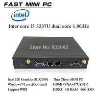 thin client mini computer Intel core I3  dual core 1.8GHz dual thread  DDR3 4GB RAM 60Gb SATA 2 SSD  HDMI+ VGA windows/linux