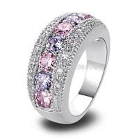 Wholesale Generous Fashion Lady Oval Cut Pink Topaz & Tourmaline 925 Silver Ring Size 6 7 8 9 10 Romantic Love Style Jewelry
