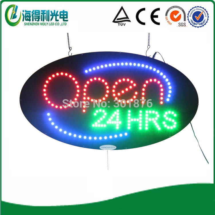 24*48cm small LED acrylic sign /LED Oval Open 24HRS letter sign(China (Mainland))