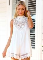 2014 New Arrive Sleeveless Lace Flower Mini Dress, Women Sexy Hollow Out Short Dress