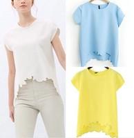 ST1533 New Fashion Ladies' Elegant reverie cutted T shirt O neck short sleeve shirt casual slim brand designer tops