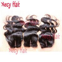 Free shipping 6A Virgin peruvian hair silk base closure,3.5X4 body wave natural color, hidden knots silk closure in stock