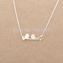 2015 Vintage Silver Gold Birds On Branch Love Birds Pendant long Chain Simple Cute Women