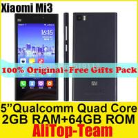 "100% Original xiaomi mi3 smart cell phone m3 WCDMA 16GB/64GB Rom+2GB Ram mobile phone 5.0""IPS 13MP Unlocked NFC 1920*1080 PX"