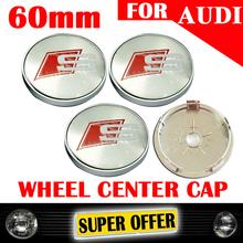 FREE SHIPPING 4 X 60MM METAL CHROME S SLINE CAR WHEEL HUB CAP CENTER RIM COVER EMBLEM FOR A3 A4 A5 A6 A7 A8 S3 S4S S5 S6 S7 211(China (Mainland))