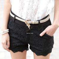 Hot!!!Women 2014 New Summer High Waist Front Zip Lace Crochet Black/White/Apricot Hot Pants Matching Shorts b14 SV004824