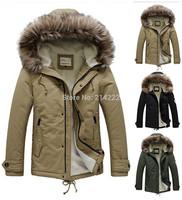 Free shipping 2014 thick fur collar long  high-quality men down jacket & parkas,British style winter fashion outdoors jacket men