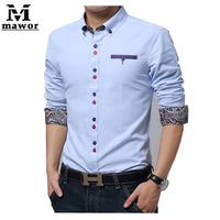 Spring Autumn New 2014 Casual  Men's Slim Long-sleeved Shirts Print Cotton Social Shirt Tops Size M-XXXL