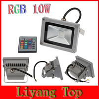 Free shiping  10W RGB LED Floodlight IP65 Waterproof Stainless LED Light With IR Remote  Outdoor Wall High Way Square Park House