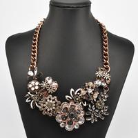 New design high quality 2014 fashion ZA jewelry colourful crystal rhinestone flower bib statement shourouk necklace for women