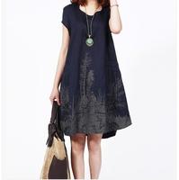2014 clothing new style summer plus size Ink printed casual vestidos dress, ladies women cotton linen comfortable M-XXL dresses