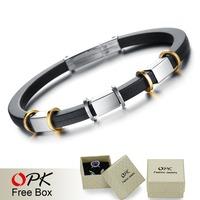 OPK JEWELRY Discount Sale! Top Grade Genuine Silicone Bracelet & Bangle Attractive Men Jewelry Factory Price, 840