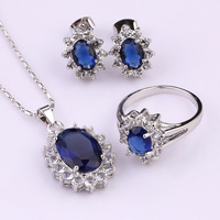 S3-0018A, New Arrival Necklace/ring /earrings Rodium Plated Round Royal Blue Glass/Crystal Jewelry Set For Party or Gift