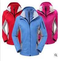 hot sale Female Outdoor Double Layer 2in1 Waterproof Climbing Skiing Jackets Windbreaker,Women Warm Waterproof Windproof Coat