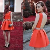 Hot Sale 2014 Sexy Neon Sleeveless Cute Dress Belt Dress Pleated Dress Green/Orange Bandage Dress Open Back Dress B12 SV001300