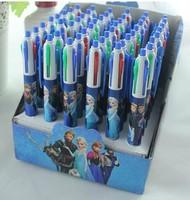 Free Shipping 48pcs/lot FROZEN snow Romance Adventure Snow Queen Magic 4-color ink multi-color ballpoint pens