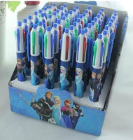 Free Shipping 48pcs/lot FROZEN snow Romance Adventure Snow Queen Magic 4-color ink multi-color ballpoint pens