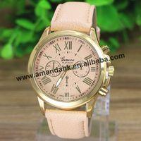 100pcs/lot Geneva Roman Number Leather Watch New Fashion Women Men  Minimalism Watches Big Dial Colck Hours Quartz Wrist Watch