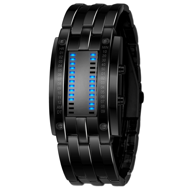 Luxury Lovers' Wristwatch Waterproof Men Women Stainless Steel Blue Binary Luminous LED Electronic Display Sport Watches Fashion(China (Mainland))