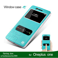 With Screen Protector  Flip Leather Case Cover For Oneplus One  Phone Case With The Window  Free Gift