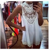 New 2014 Women Embroidered Dress Sexy Lace Crochet Dress Lace Chiffon Dress Lace Flower Print White Dresses Casual Vestidos 2327