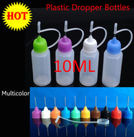Wholesale 5pcs/lot Needle Bottle PE 10ML Plastic Dropper Bottles With Screw Metal Needle Cap Free Shipping