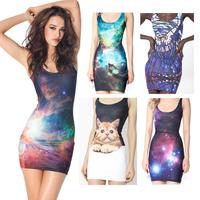 Black Milk Brand  Sheath Tank Dress  Women Short  Casual Print Sleeveless Dresses Sexy Party  Mini Summer Dress