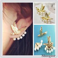 New Elegant Pearl Earrings Gold Flying Birds Stud Earrings girls Lovely earring Fashion 2014 Jewelry