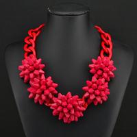 2014 fashion luxury corlorful flower red big clain vintage ZA necklaces & pendants beads gem choker collar shourouk necklace W6