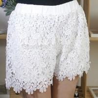 Plus Size S-XXL 2015 New Summer Fashion Women Cotton Lace Crochet Scalloped Tiered Mini Shorts