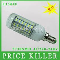 2014 New arrival Waterproof SMD 5730 E14 18w led corn bulb lamp 5730 56LED Warm white /white,5730 SMD led lighting,free shipping