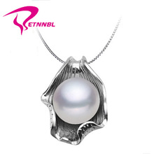 ETNNBL New 2015 fashion Free ShIpping 10-11 mm design Natural Pearl Pendant Perfect Round White Freshwater Pearl , 925 Silver