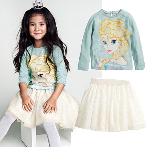 new 2014 Snow Queen dress kids elsa clothing sets baby girls costumes for kids fantasia kids clothes baby clothing sets(China (Mainland))