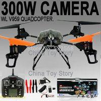 WL V959,300W Camera 2.4G 4CH 6-Axis Remote Control RC Quadcopter Helicopter Quad Copter Ar.drone Drone Quadrocopter With Camera